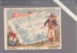 """Chromo XIXè - Magasin Du Louvre,  Nantes - Monnaie Billet De Cent Francs - J.Bognard """" Donné 22 Avril 1880 Aux Courses """" - Other"""