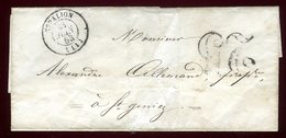 Lettre Sans Texte De Espallion Pour Saint Geniez En 1853 - Marcophilie (Lettres)