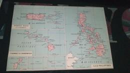 AFFICHE CARTE GEOGRAPHIQUE - PORTO RICO - HAWAI OU SANDWICH - ILES PHILIPPINES.......... - Geographical Maps