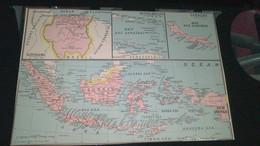 AFFICHE CARTE GEOGRAPHIQUE - PETITES ANTILLES - CURACAO - SURINAME...BRESIL - VENEZUELA........... - Geographical Maps