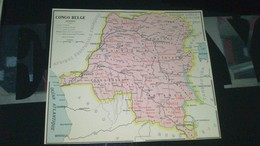 AFFICHE CARTE GEOGRAPHIQUE - CONGO BELGE - Geographical Maps