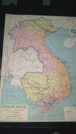 AFFICHE CARTE GEOGRAPHIQUE - INDOCHINE, Physique, Politique Et économique - Geographical Maps