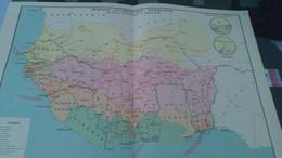 AFFICHE CARTE GEOGRAPHIQUE -  AFRIQUE OCCIDENTALE FRANCAISE Politique économique Et Touristique........ - Geographical Maps