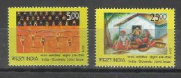 INDIA, 2014, India Slovenia Joint Issue, Set 2 V, Dance, Culture, Child, Art, Convention Of The Child Rights, MNH, (**) - Joint Issues