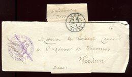Bande Journal En Franchise ( Gendarmerie ) De Laon Pour Verdun En 1911 - Marcophilie (Lettres)
