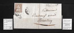 1857 Sitzende Helvetia, Ungezähnt (Strubel)  ►22B3.IV Miécourt Winkler 917/13 Nach Porrentruy◄ - 1854-1862 Helvetia (Imperforates)
