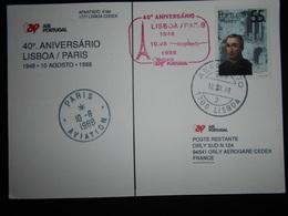 Portugal Carte De Lisboa 1988 Pour Paris , 40 Aniversario Lisboa / Paris - Poste Aérienne
