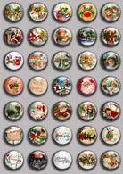 Christmas BADGE BUTTON PIN SET 2 (1inch/25mm Diameter) 35 DIFF - Christmas