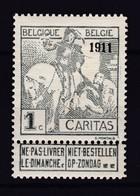 N° 92 X  CARITAS 1911 ( Neuf Gomme + Charniere ) COB 2011 :  36.00 * - 1910-1911 Caritas