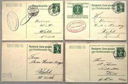 Schweiz Suisse 1912/14: 4 X PK Nach WALD (ZÜRICH) Aus BASEL, BEINWIL AM SEE & BUCHS (ZÜRICH) - Interi Postali