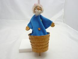 Jeux Et Jouet.marotte.personage à Définir.tissu Velours Bleu, Fourrure, Tête Et Mains Bois.26cm - Other Collections