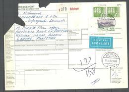 USED PARCEL CARD DANMARK TO PAKISTAN - Denmark