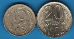 RUSSIA CCCP LOT 15 + 20 KOPECKS 1962 - Rusland