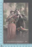 """CPA Fantaisie Couple  - Homme Femme, J'entrevois Près De Vous L'avenir Tout En Rose... """"Roses""""  -  ED: Lilas 7542 - Femmes"""