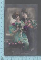 CPA Fantaisie Couple  - Homme Femme, Votre Amitié M'est Précieuse)Fleurs   -  ED: Victoria 238 - Femmes
