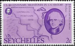 SEYCHELLES 1976 Bicentenary Of American Revolution - 2c. Jefferson And Louisiana Purchase MH - Seychelles (1976-...)