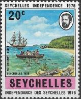 SEYCHELLES 1976 Independence - 20c First Landing, 1609 (inset Portrait Of Premier James Mancham) MH - Seychelles (1976-...)