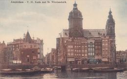 Amsterdam P.H. Kade Met St. Nicolaaskerk Trams Dekschuiten En Schreierstoren Brouwerkaart    469 - Amsterdam