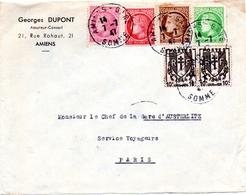 1947 - 7 Juillet (premier Jour De Tarif) - Mazelin 675, 676, 679,681, Chaines 670x2 - Enveloppe Entière  (V371) - Postmark Collection (Covers)