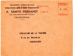 1947 - 3 Janvier, (premier Jour De Tarif) - EMA Havas K - Devant D'enveloppe   (V376) - Postmark Collection (Covers)
