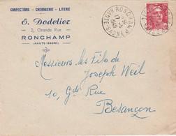 Enveloppe Commerciale 1949 / E. DODELIER / Confection / 70 Ronchamp - Maps