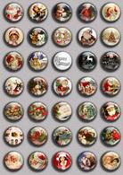 Christmas BADGE BUTTON PIN SET 3 (1inch/25mm Diameter) 35 DIFF - Weihnachten