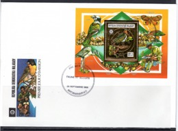 Madagascar 1988, Scout, Butterfly, Birds, BF Gold In FDC - Songbirds & Tree Dwellers