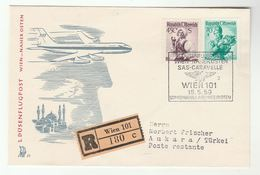 1959 First FLIGHT COVER Austria To TURKEY Vienna To Ankara  SAS CARAVELLE Aviation Mosque , Stamps - Airplanes