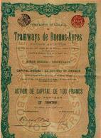« Cie Générale De Tramways De BUENOS-AYRES SA» - S.S. BRUXELLES - CS 65.000.000 Fr – Action De Capital De 100 Fr (1907) - Chemin De Fer & Tramway