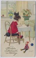Frits BAUMGARTEN  Mädchen Schreibt Einen Brief, Puppe 1928y  E661 - Baumgarten, F.