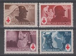 SERIE NEUVE DE HONGRIE - TIMBRES DE LA CROIX-ROUGE 1944 N° Y&T 649 A 652 - Cruz Roja