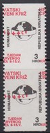 Croatia 1992 Red Cross Surcharge, Error - Moved Perforation And Imperforated In Pair, MNH (**) Michel 21 - Croatie