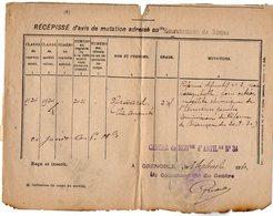 VP12.758 - MILITARIA - Lettre En Franchise Militaire - Récépissé - NIMES X GRENOBLE Centre De Mobilisation - Documents