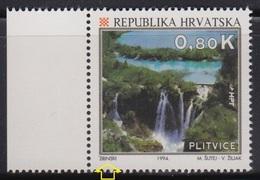 Croatia 1994 Plitvice Lake, Error - 2 Lines Over Zrinski, MNH (**) Michel 279 - Croatie