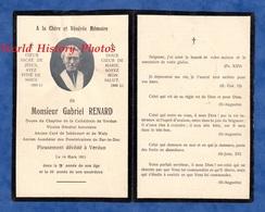 Faire Part De Décés 1911 - Abbé Gabriel RENARD Curé De JUBECOURT & WALY ( Meuse ) - Cathédrale De Verdun - Bar Le Duc - Décès