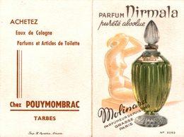 REF 1674-2018 CALENDRIER 1958  PARFUM NIRMALA MOLINARD CHEZ POUYMOMBRAC - Calendars