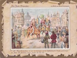 """Pub AU BON MARCHE . Chromo 11,5 X 16 . LA BELLE AU BOIS DORMANT N°4 : """"Le Fils Du Roy étant Allé à La Chasse... """" - Au Bon Marché"""
