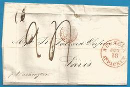"""(D006) - USA - Letter Without Text From """"New.York Am Packet Jun 18"""" + """"Etats-Unis Par Le Havre 2 Juil 1853"""" - Etats-Unis"""