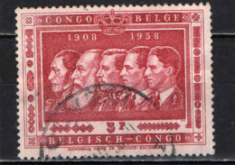 CONGO BELGA - 1958 - EFFIGIE DEI RE DEL BELGIO - 50° ANNIVERSARIO DEL CONGO BELGA - USATO - 1947-60: Usati
