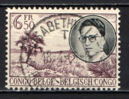 CONGO BELGA - 1955 - RE BALDOVINO E SCENA TROPICALE - USATO - 1947-60: Usati