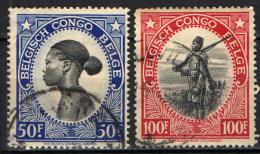 CONGO BELGA - 1943 - DONNA CONGOLESE E ASKARI - USATI - Congo Belga