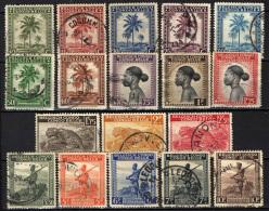 CONGO BELGA - 1942 - PALME E POPOLAZIONE INDIGENA - SCRITTA  BELGISCH CONGO/CONGO BELGE - USATI - Congo Belga