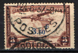 CONGO BELGA - 1934 - AEREO FOKKER F VII SUL CONGO CON SOVRASTAMPA - OVERPRINTED - USATO - Congo Belga