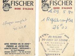 2 Facturettes BIERE  D'Alsace FISCHER / Restaurant 14 ROTS Et 70 GRAY - France