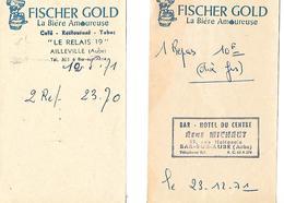 2 Facturettes BIERE FISCHER  GOLD / Restaurant 14 Bar Sur Aube Et Ailleville - France