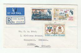1966 Registered TURKS & CAICOS ISLANDS FDC Sailing SHIP Bird FLAMINGO FLAG HERALDIC SHELL  To GB Birds Cover - Turks And Caicos