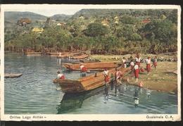 J) 1954 GUATEMALA, LAKE SHORES ATITLAN, POSTCARD - Guatemala
