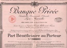 BANQUE PRIVEE INDUSTRIELLE ,COMMERCIAL,COLONIALE -PART BENEFICIAIRE 1924 - Banque & Assurance