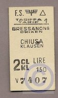 Pappfahrkarte (Italien)  -->  Bressanone Brixen - Chiusa Klausen - Bahn