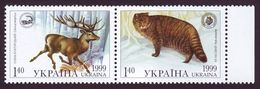 UKRAINE 1999. FAUNA OF CARPATHIAN. DEER AND WILD CAT. JOINT ISSUE WITH POLAND. Mi-Nr. 321-22. MNH (**) - Ucrania